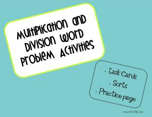 multiplication division word problem task cards